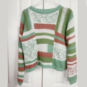 Sundance Catalog Mohair Knit Sweater Lace Patches